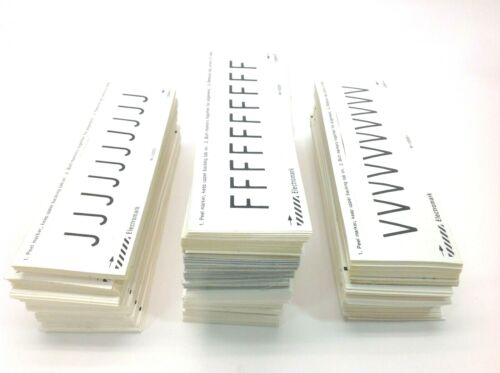 "Electromark 1.5"" Peel Off Letter Stickers Black on White 3/4"" Letter ""F"" ""J"" ""V"""