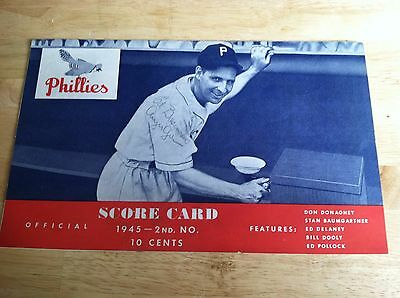 1945 Philadelphia Phillies Brooklyn Dodgers  Autographed Baseball Game Program