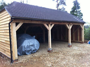 English-Green-Oak-Framed-Garage-Three-Bay-Cart-Lodge-Barn-Out-Building