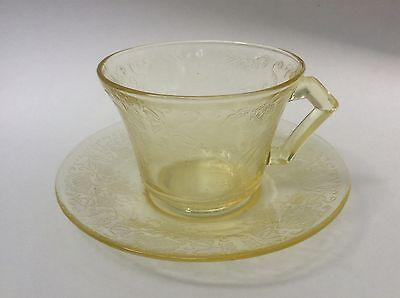 Hazel Atlas Florentine #2 Yellow Poppy Depression Glass Cup & Saucer Set s