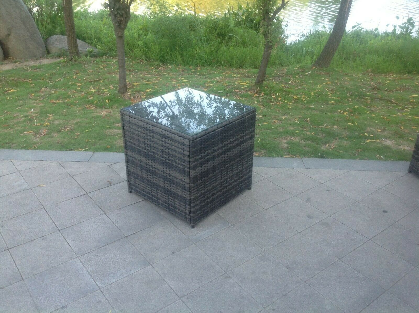 Garden Furniture - Grey Rattan Cube Coffee table Garden Furniture