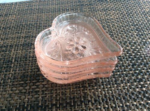 Vintage Pink Heart Shape Dishes Set of 4