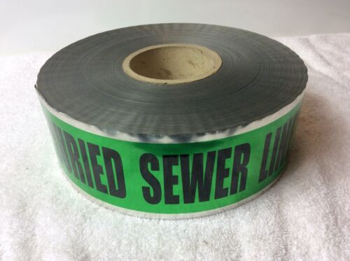"""Detectable CAUTION BURIED SEWER LINE BELOW Underground Warning Tape 3"""" X 1000'"""