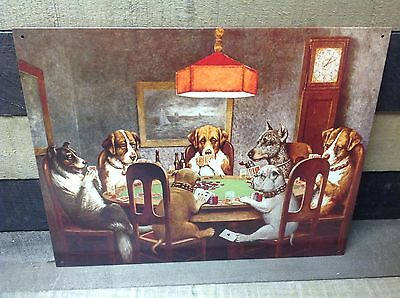 DRUNKEN DOGS PLAYING POKER CARDS 2 Sign Tin Vintage Garage Bar Decor Old Rustic