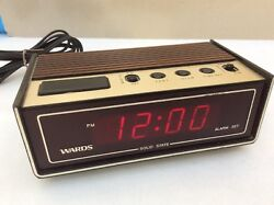 WARDS SOLID STATE ALARM CLOCK MODEL 45-9778 MADE IN JAPAN SIMULATED WOOD GRAIN