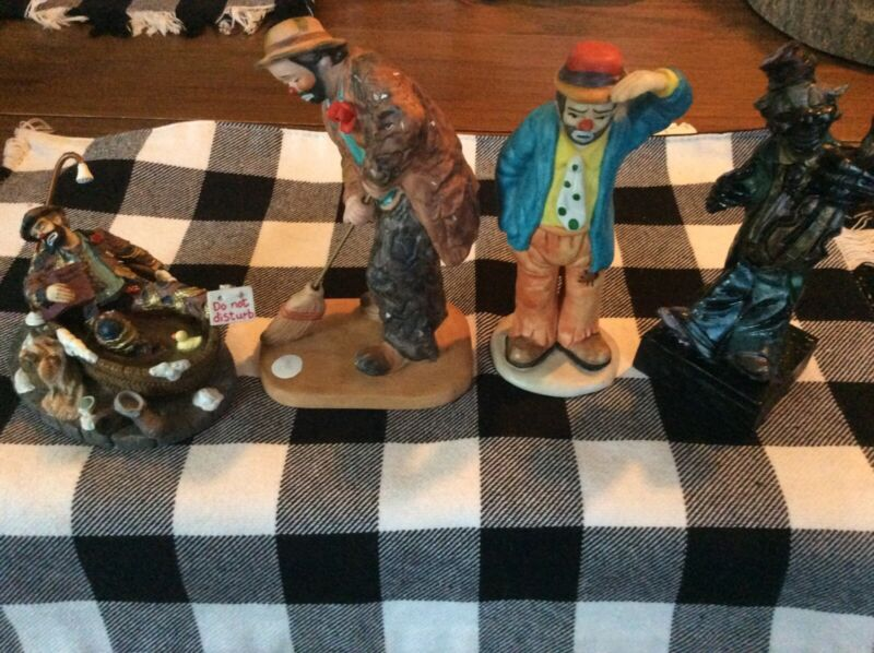 Emmett Kelly Clown Figurines(3) And Coal Carved Clown