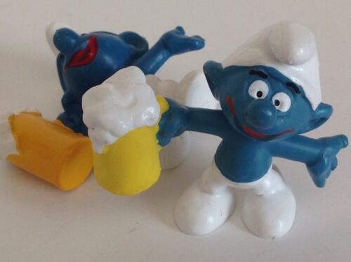 Vintage Smurf Bully with Beer Mug Schleich  Peyo
