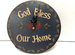 6 God Bless Our Home Round Country Wall Kitchen Battery Clock Navy Hearts New