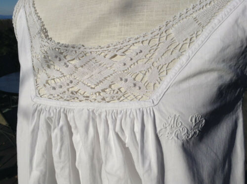 Antique vintage French linen night dressing gown peasant shirt dress Mono MV