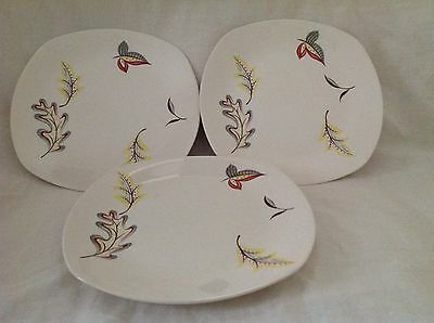 "3 X MIDWINTER FALLING LEAVES 8.75"" PLATES EXCELLENT CONDITION FIRST QUALITY"