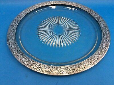 Pressed Glass Mid-Century Silverplate Rim Ornate Design Decorative Serving Plate Mid Rim Plate