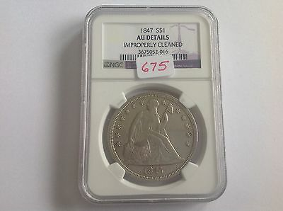 1847 SEATED LIBERTY DOLLAR NGC AU DETAILS IMPROPERLY CLEANED