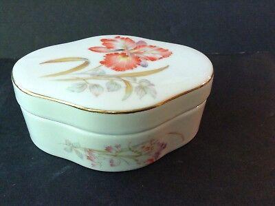 - Vintage Lidded Oval Shaped Ceramic Trinket Dish with Floral Design & Gold Trim