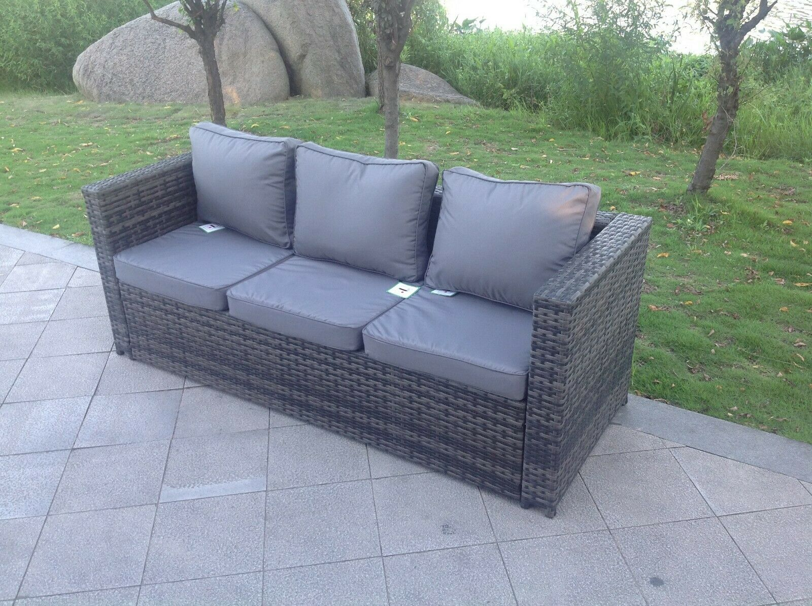 Garden Furniture - Grey mixed 3 seater rattan Sofa patio conservatory outdoor garden furniture