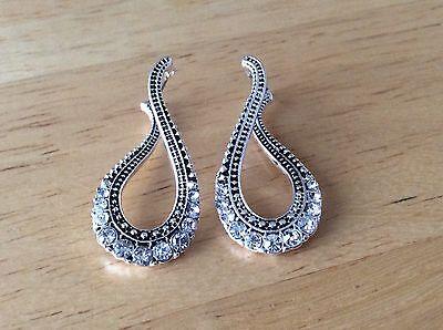 (New Silver Tone Dangle Drop Wave Hoop Rhinestone Women Fashion Jewelry Earrings)