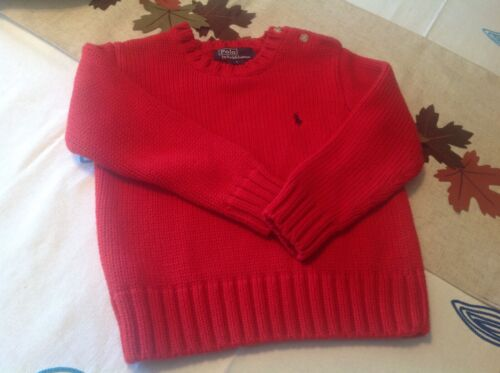 Ralph Lauren Polo Boys Cotton Knit Sweater Size 4 Red