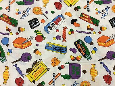 HALLOWEEN CANDY ON WHITE FABRIC  BY THE YARD - Candy On Halloween