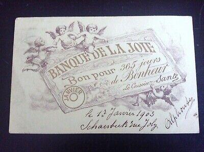Lot de 2 Cartes postales fantaisie Banque de l'amour et banque de la joie