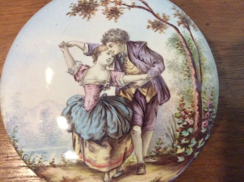 19th Century French Bronze and Enamel Powder Dresser Box Romantic Courting Scene