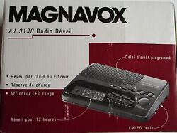 VTG PHILLIPS MAGNAVOX AM/FM LED Clock Radio AJ3130/17 Black New In Open Box