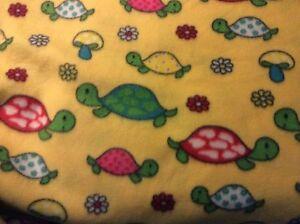 Cute turtle flower mushroom fleece fabric yellow background, 60