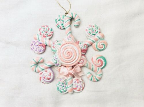 """Pastel Lavender Pink Green Candy Snowflake Christmas Ornament 5 1/2"""""""
