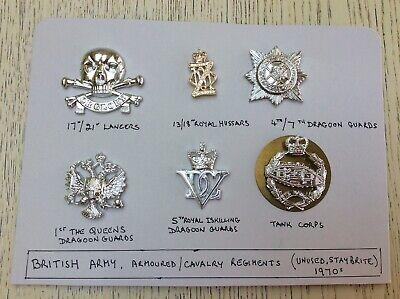 British Army Cavalry Regiments - British Army Staybrite badges Armoured/Cavalry Regiments 1970s