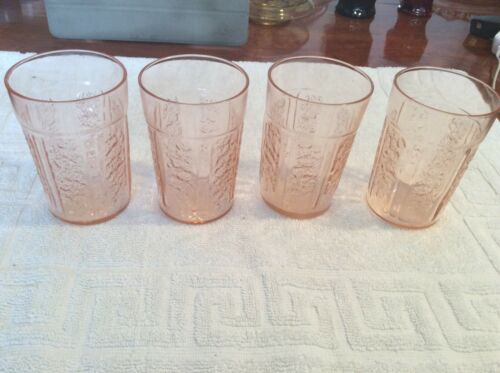 DEPRESSION GLASS FEDERAL PINK SHARON CABBAGE RISE 4 TUMBLERS 9 onz