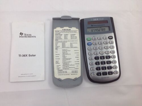 Texas Instruments TI-36X Solar Calculator Scientific Case Instructions 2004