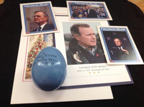 1990 President George H.W. Bush White House Easter Egg + 2018 Memorial Card +