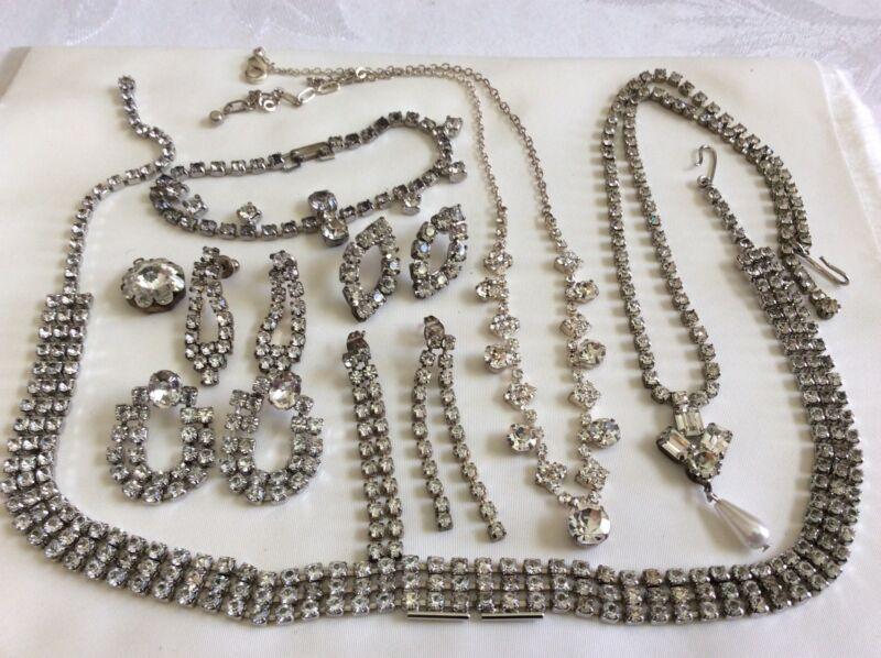 VTG Lot of 9 Silver Tone Clear Rhinestones collar Necklaces earrings bracelet