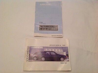 Volvo 440/460 Owner Manual 1992 Reference TP3314/1 + Volvo VC601 Cassette instru