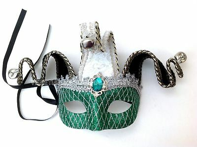 Jolly Jester Costume Masquerade ball man Mask Pair Halloween Prom Surprise Party