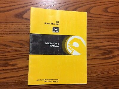 John Deere 322 Omty20711 Snow Thrower Operator Manual