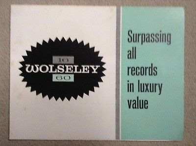 WOLSELEY 16 60 Sales Brochure 1961 - Good clean condition