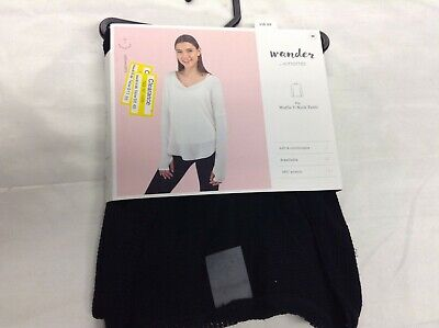 Wander by Hottotties Women's Waffle Collection Lea Long Sleeve V-Neck -MEDL BLK