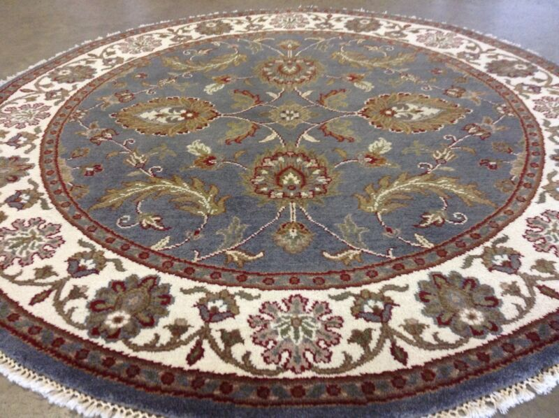 5 X 5 Round Blue Ivory Agra Persian Oriental Area Rug Wool Hand Knotted Foyer