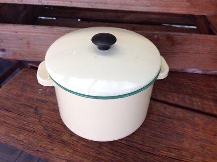 Green and cream enamel pot with lid  Eden Hill Bassendean Area Preview