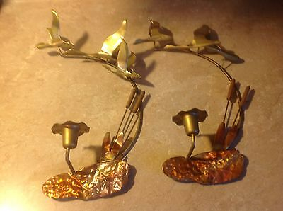 (Vintage Pair Cattails Candle Holder Sconce Copper Brass Geese Wall Art)