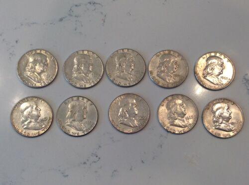 Lot of (10) Franklin Half Dollars, 1960