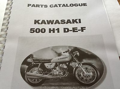 KAWASAKI H1 D E F parts catalogue KH 500 paper bound copy.