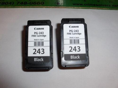 Genuine Lot Of 2 Cannon,EMPTY Ink PG-243 Black Fine Cartridges->FREE SHIP