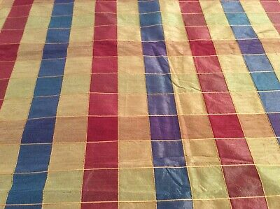 Blue, Gold , Red and Olive Multi-Color Squares Home Decor Fabric - 3 2/3 - Red And Blue Decorations