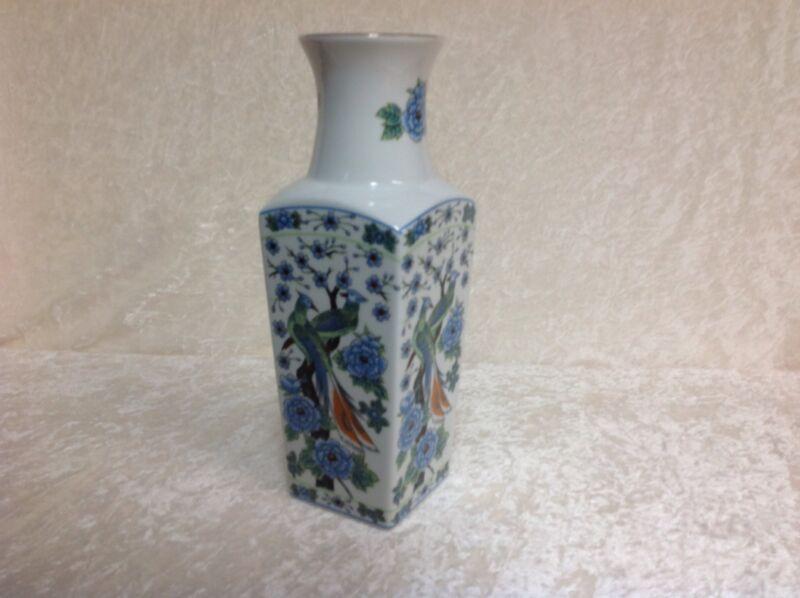 "Imari Ware 10"" Vase Made in Japan Blue Flowers and Japanese Peacocks"