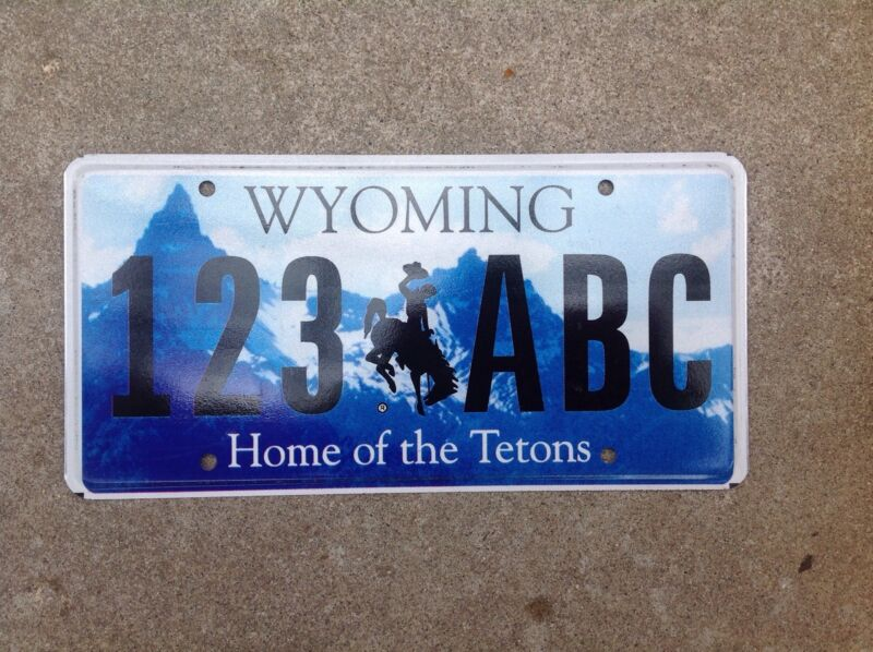 """WYOMING - """"HOME OF THE TETONS"""" - SAMPLE LICENSE PLATE"""