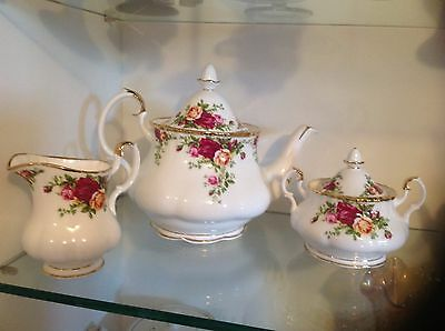 Royal Albert Old Country Rose 3 piece tea set New in Box