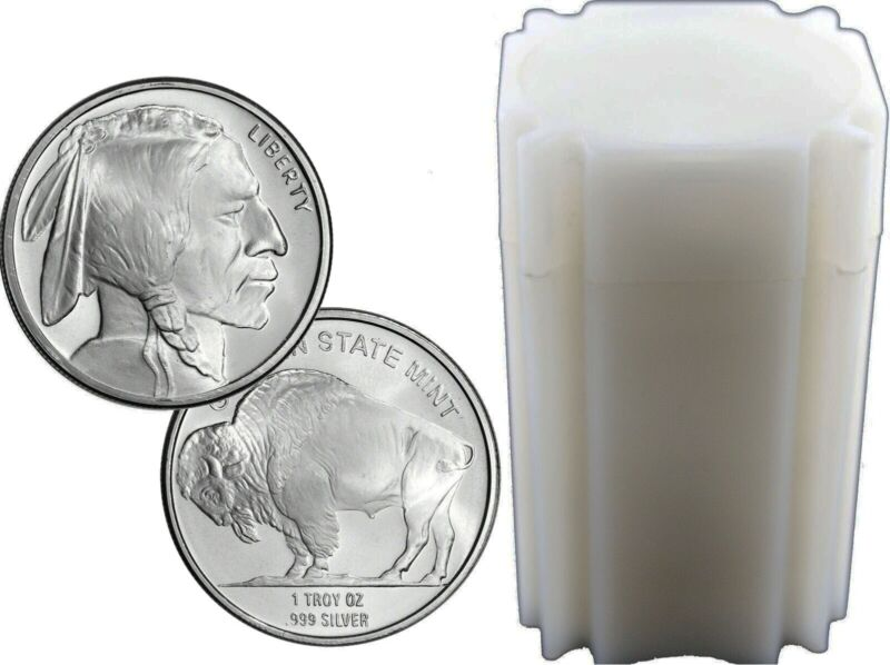Roll Of 20 1 Oz Silver Rounds .999 Fine Golden State Mint Buffalo Design