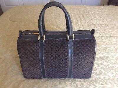 Vintage Gucci GG Logo Purse Boston Bag Navy Blue Suede Excellent Condition RARE!