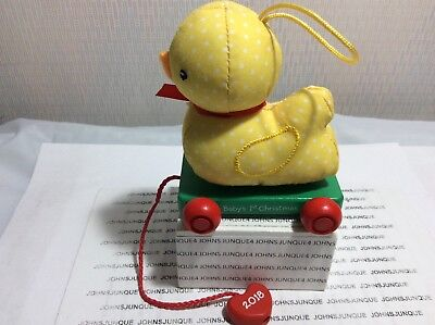 BABY'S FIRST CHRISTMAS HALLMARK ORNAMENT 2018 DATED PLUSH YELLOW DUCK CLOTH NEW