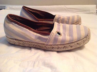 Hunter Adler Espadrilles White/Blue Striped Canvas Shoes/Flats Size 37/7